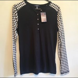 Chaps M Henley Top Black & White Checked Sleeves